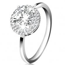 Inel placat cu rodiu, argint 925, zirconiu rotund şi transparent, margine lucioasă