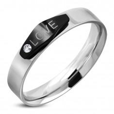 Inel argintiu din oţel, oval negru cu inscripţie LOVE şi zirconiu