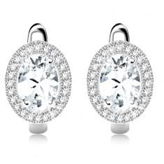 Cercei din argint 925, zirconiu oval, transparent, cadru din zirconii mici