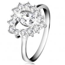 Inel din argint 925, zirconiu fațetat în formă de bobiță, contur de inimă, zirconii transparente