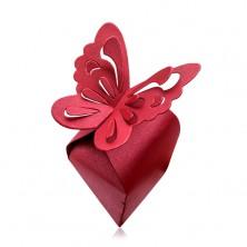 Cutiuță de cadou de culoare roșu-bordo, fluture mare cu decupaje pe aripi
