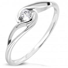 Inel argintiu din oțel chirurgical, zirconiu rotund transparent, brațe ondulate