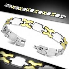 Brățară din oțel chirurgical, zale lucioase aurii și argintii
