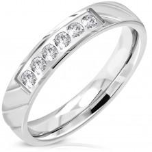 Inel argintiu din oțel 316L, linie strălucitoare din zirconii transparente, 4 mm