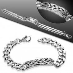 Brăţară argintie din oţel, plăcuţă cu model împletit, zale mari