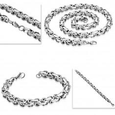 Colier și brățară din oțel, lanț gros argintiu
