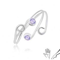 Inel din argint 925 pentru mână sau picior, brațe subțiri cu zirconii violet