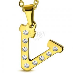 Pandantiv auriu din oțel, litera V încrustată cu zirconii transparente