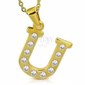 Pandantiv auriu din oțel, litera U încrustată cu zirconii transparente