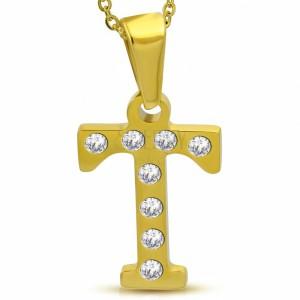 Pandantiv auriu din oțel, litera T încrustată cu zirconii transparente