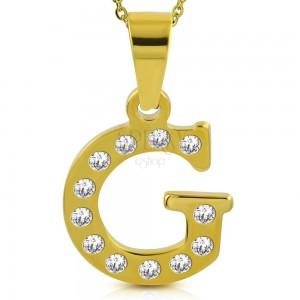 Pandantiv auriu din oțel, litera G încrustată cu zirconii transparente