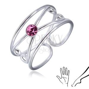 Inel din argint 925 - zirconiu rotund violet-deschis, buclă dublă