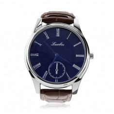 Ceas de mână pentru bărbaţi, cadran albastru, rotund, curea