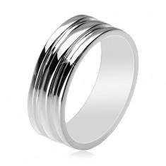 Inel din argint 925 - bandă cu două dungi goale, 8 mm