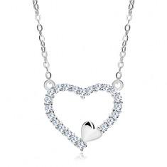 Colier din argint 925, contur inimă din zirconii şi inimă mică