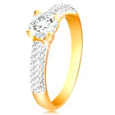 Inel din aur de 14K - braţe lucioase, zirconiu proeminent, rotund şi transparent