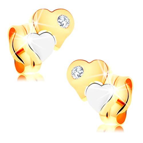 Bijuterii eshop - Cercei din aur de 14K - inimi bicolore cu diamant transparent BT501.34