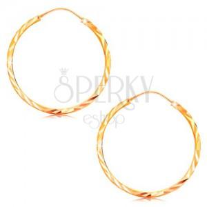 Cercei din aur 585 - cercuri cu suprafață lucioasă fațetată, 24 mm