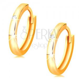 Cercei din aur galben 14K - cercuri mici decorate cu un zirconiu transparent