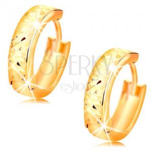 Cercei rotunzi din aur 14K cu suprafață fațetată, luciu intens