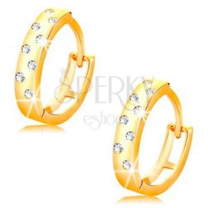 Cercei din aur galben 14K - cercuri lucioase cu zirconii transparente