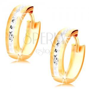 Cercei din aur 14K - cercuri strălucitoare decorate cu crestături și aur alb