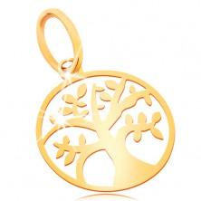 Pandantiv din aur galben 585 - copacul vieții mic și lucios într-un cerc plat