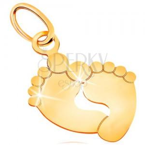 Pandantiv din aur galben 585 - două tălpi, suprafață netedă și lucioasă