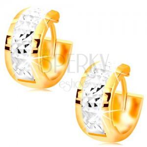 Cercei din aur 585 - cercuri late decorate cu aur alb și crestături