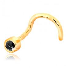 Piercing pentru nas din aur galben 14K - formă curbată, zirconiu negru în montură