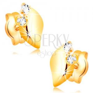 Cercei din aur galben 14K cu diamant - două diamante strălucitoare, frunză lucioasă