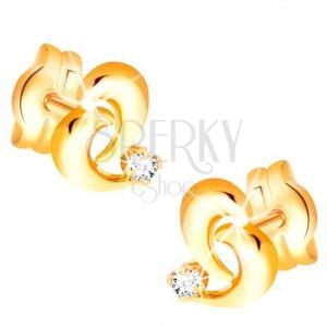 Cercei aur 585 - contur inimă asimetrică, diamant transparent