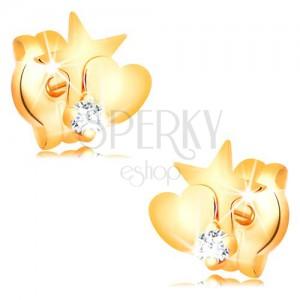 Cercei din aur 585 cu diamant - stea și inimă, diamant rotund, transparent