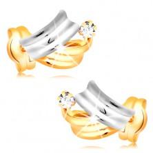 Cercei din aur 14K - arce lucioase bicolore, diamant rotund transparent