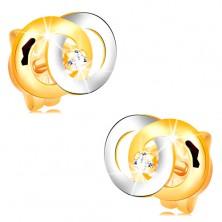 Cercei din aur 14K - două cercuri interconectate, diamant strălucitor în mijloc