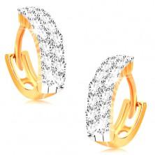 Cercei din aur galben 14K - cercuri mici decorate cu zirconii transparente