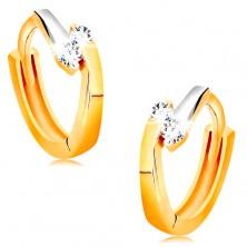 Cercei rotunzi din aur 585 - linii bicolore și zirconii strălucitoare transparente