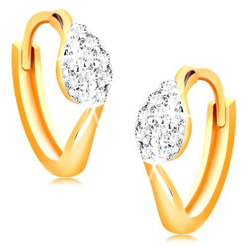 Bijuterii eshop - Cercei din aur 14K - cercuri cu o picătură din zirconii transparente GG15.18