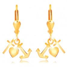 Cercei din aur 14K - lacrimă lucioasă răsturnată, ancoră, inimă și cruce