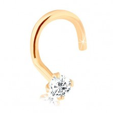 Piercing pentru nas din aur 9K, diamant strălucitor, 1,5 mm