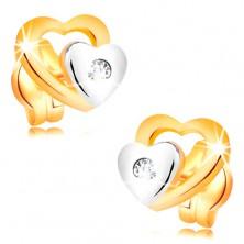 Cercei din aur 14K - două inimi și un diamant transparent