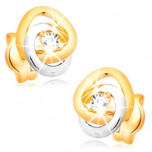 Cercei din aur 14K - bucle bicolore unite, diamant strălucitor transparent