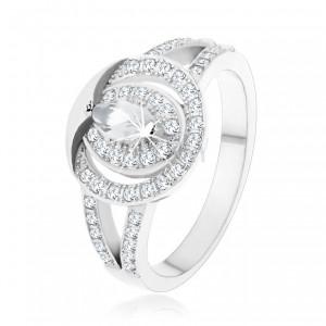 Inel din argint 925, cerc din zirconii transparente cu un zirconiu în formă de bobiță în mijloc