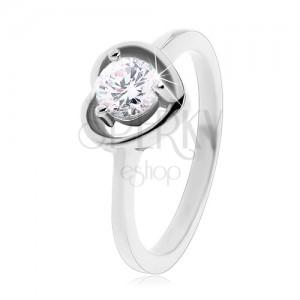 Inel argintiu din oțel 316L, contur de inimă, zirconiu transparent