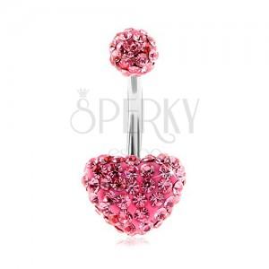 Piercing din oțel pentru buric, bilă și inimă, zirconii strălucitoare roz