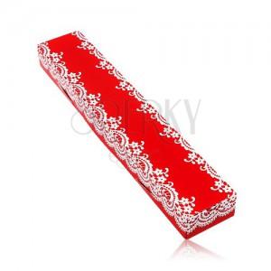 Cutiuță roșie de cadou pentru lanț sau brățară, model dantelat alb