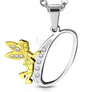 Pandantiv din oțel 316L, litera O decorată cu zirconii transparente și o zână