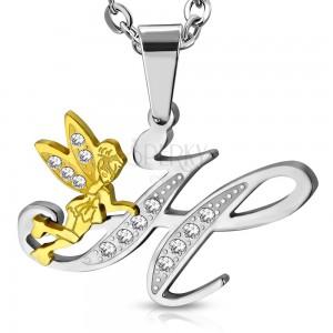 Pandantiv din oțel chirurgical, litera H decorată cu zirconii transparente și o zână