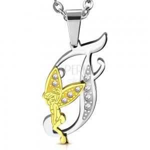 Pandantiv din oțel chirurgical, litera F decorată cu zirconii transparente și o zână
