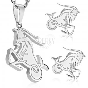 Set din oțel inox, culoare argintie, pandant și cercei, semn zodiacal CAPRICORN